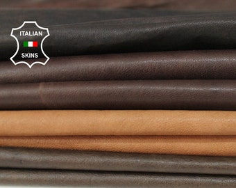 WASHED BROWN 4 SHADES vegetable tan Genuine Italian Lambskin Lamb Sheep leather material sewing crafts 4 skins total 24sqf 0.7mm #A6106