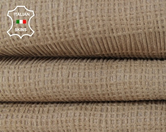 STRETCH WALNUT  BEIGE brown textured soft Italian Lambskin Lamb Sheep Genuine leather fabric material sewing crafts skin 5sqf 0.7mm #A6099