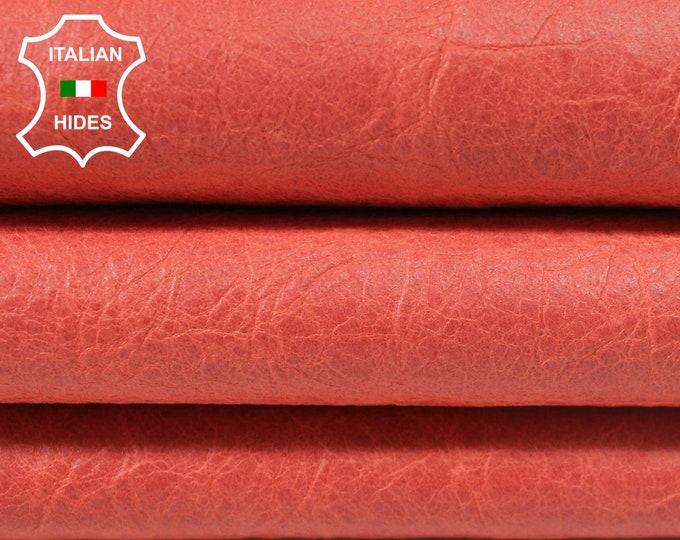 CRINKLE SALMON VINTAGE look Lambskin Lamb Sheep leather skin hide skins hides 5sqf 0.7mm #A3808