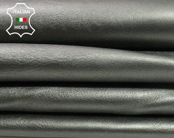 METALLIC PEWTER smoked crinkle crinkled Italian Lambskin Lamb Sheep leather 3 skins hides total 12sqf 0.7mm #A4402