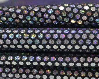 Italian lambskin leather 12 skins hides HOLOGRAPHIC SILVER POLKA Dots on black 80-90sqf