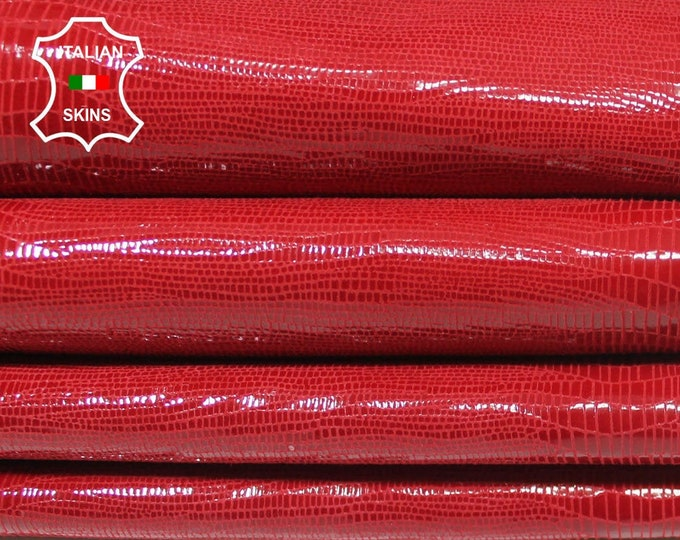 RED SHINY REPTILE print textured Italian Lambskin Lamb Sheep Leather 2 skins hides total 6+sqf 0.8mm