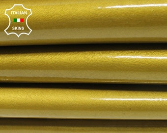 PATENT PEARLIZED GOLD shiny thick Italian Lambskin Lamb sheep leather 2 skins hides total 14sqf 1.2mm