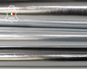 METALLIC SILVER 3 SHADES smooth Italian Goatskin Goat leather material for sewing crafts  pack 3 skins hides total 12sqf 0.7mm #A6130