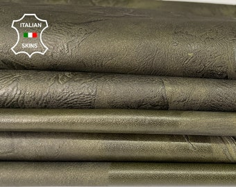OLIVE GREEN EMBOSSED textured distressed antiqued Italian lambskin lamb sheep leather skin hide hides 2 skins total 15sqf 0.9mm #A8341