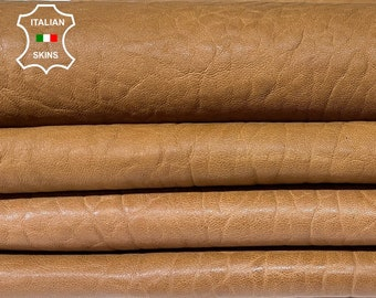 CAMEL BROWN BUBBLY grainy vegetable tan thick Italian lambskin lamb sheep leather skin hide hides 2 skins total 15sqf 1.3mm #A8310