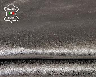 METALLIC GUN METAL on green double sided rough vegetable tan Italian goatskin goat leather skin skins hide hides 3sqf 0.9mm #A8081