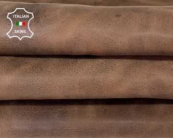 BROWN RUSTIC ANTIQUED stonewash vintage look vegetable tan Italian goatskin goat leather skin skins hide hides 5sqf 0.9mm #A8100