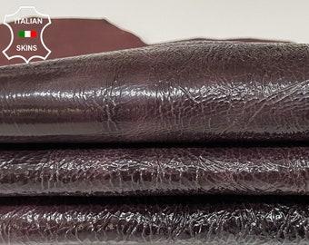 PATENT BURGUNDY CRINKLE crispy shiny Italian goatskin goat leather skin skins hide hides 5sqf 1.0mm#A8348