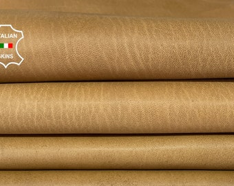 NATURAL PEANUT BUTTER vegetable tan thick Italian goatskin goat leather hide hides skin pack 2 skins total  14sqf 1.3mm #A8181