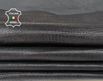 BLACK REPTILE TEXTURED embossed thin soft Italian Lambskin Lamb Sheep leather skin hide skins 7sqf 0.2mm #A7810