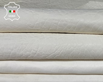 NATURAL GRAINY VANILLA natural white with patent shiny backside thick Italian Lambskin Lamb Sheep leather 2 skins total 10sqf 1.3mm #A7749