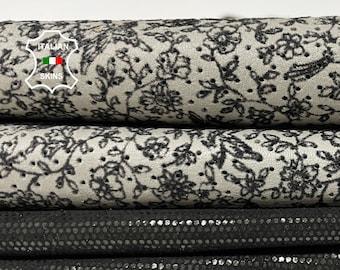 PACK BLACK & GREY printed textured soft Italian lambskin lamb sheep leather pack 2 skins total 6sqf 0.6mm #A8363