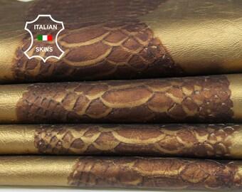 METALLIC BRASS BRONZE Snake print texture old gold Italian Lambskin Lamb Sheep leather skin hide skins hides 8sqf 0.7mm #A6735