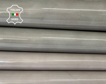 GREY PATENT SHINY wet look Italian calfskin calf cow leather hide hides skin pack 2 skins total 10sqf 1.0mm #A8257