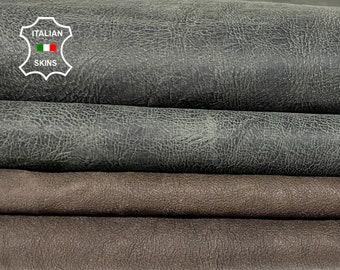 PACK 2 SKINS gray & brown vintage look antiqued vegetable tan Italian goatskin goat leather pack 2 skins total 7sqf 1.0mm #A8480