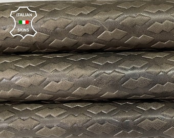 OLIVE GREEN EMBOSSED textured rustic antiqued Italian goatskin goat leather skin hide hides skins 6sqf 0.8mm #A8338