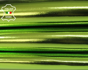 METALLIC LIME GREEN smooth Italian Lambskin Lamb Sheep leather skin hide skins hides 6-8sqf 0.7mm