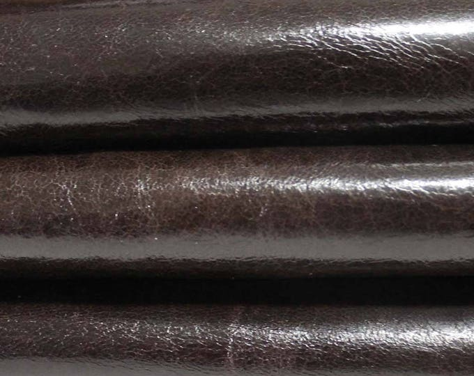 DARK BROWN Crinkled shiny crinkle Italian genuine Lambskin Lamb sheep leather skin hide skins hides 5sqf #A3305