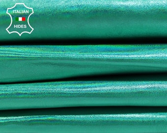 HOLOGRAPHIC METALLIC GREEN iridescent crinkle crinkled Italian Lambskin Lamb Sheep leather 7 skins hides total 30sqf 0.8mm #A4403