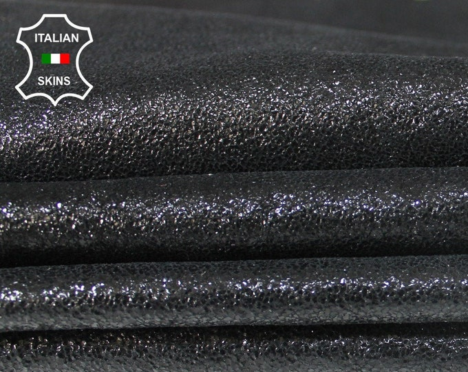BLACK SHIMMER & SHINE shiny crackle cracked Italian Lambskin Lamb Sheep leather material for crafts 6 skins hides 20sqf 0.7mm #A6343