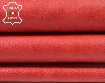 CRINKLE RED VINTAGE look Lambskin Lamb Sheep leather 6 skins hides total 33sqf 0.7mm #A3807