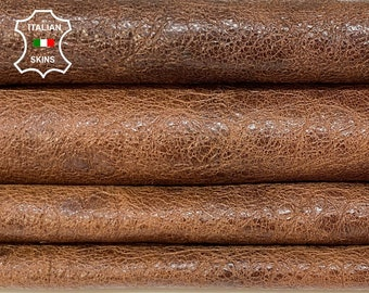 BROWN SHINY ANTIQUED rough natural vintage look vegetable tan Italian goatskin goat leather pack 3 skins total 25sqf 1.1mm #A8400