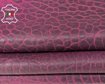 FUCHSIA ANTIQUED BUBBLY grainy thick soft Italian lambskin sheep leather skin skins hide hides 6sqf 1.6mm #A8070
