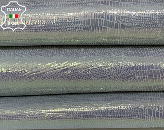 METALLIC SILVER HOLOGRAPHIC tejus reptile print shiny strong Italian Goatskin goat leather pack 2 skins total 7sqf 1.0mm #A8520