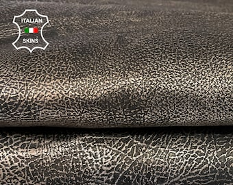 METALLIC ANTIQUED PLATINUM distressed rustic crinkle rough vintage look thick Italian Goatskin Goat leather skin skins 7sqf 1.1mm #A7640