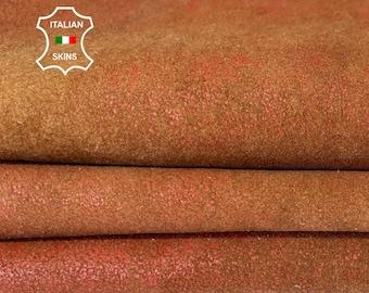 BRICK STONEWASH crackled vintage look vegetable tan soft Italian lambskin lamb sheep leather hide hides skin skins 5sqf 1.0mm #A8280