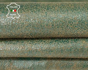 GREEN CRACKLED stonewash vintage look vegetable tan soft Italian lambskin sheep leather skin skins hide hides 5sqf 1.0mm #A8117
