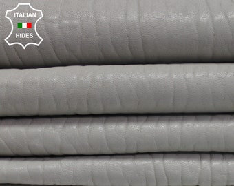GREY GRAINY Light Gray thick vegetable tan Italian genuine Lambskin Lamb Sheep leather 5 skins hides total 25sqf #AMG5