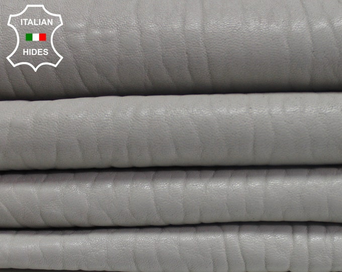 GREY GRAINY Light Gray thick vegetable tan Italian genuine Lambskin Lamb Sheep leather 5 skins hides total 25sqf #AMG5