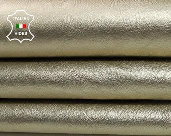 METALLIC LIGHT GOLD crinkle platin platinum crinkled Italian Lambskin Lamb Sheep leather skin hide skins hides 4sqf 0.8mm #A4401
