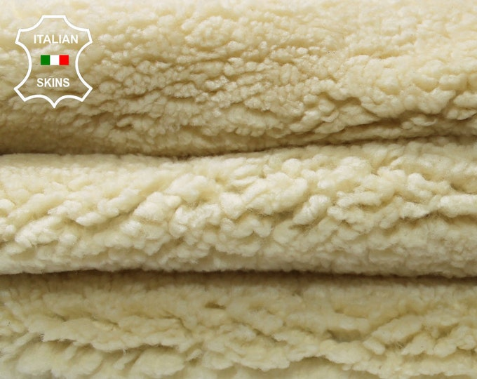 IVORY pale yellow with GREY leather backside sheepskin merino rug hair on shearling fur sheep Italian leather  skins hides 6-8sqf