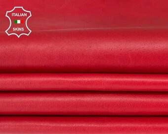 RED soft Italian lambskin lamb sheep leather skin hide hides pack 2 skins total 14sqf 0.6mm #A8323
