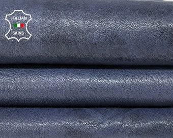 DARK BLUE SHINY antiqued vegetable tan soft Italian goatskin goat leather skin skins hide hides 4+sqf 1.1mm #A8443