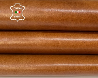 NATURAL TAN BROWN shiny vegetable tanned thick Italian goatskin goat leather skin skins hide hides 8sqf 1.2mm #A8439