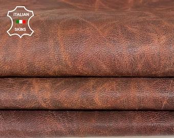 BROWN ANTIQUED rustic vegetable tan Italian Goatskin Goat leather skin hide skins hides 7sqf 0.8mm #A7763