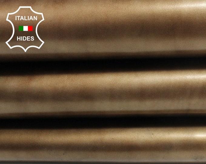 PATENT BRONZE DISTRESSED strong Italian genuine Calfskin Calf leather skin hide skins hides 6sqf 0.9mm #A3861