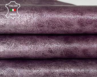 METALLIC VIOLET DISTRESSED silver Italian goatskin goat leather skin skins hide hides 7sqf 1.0mm #A8037