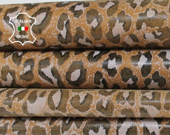 TAN LEOPARD PRINT on Italian Goatskin Goat leather material for sewing crafts fabric 2 skins hides total 5sqf 0.7mm #A6016