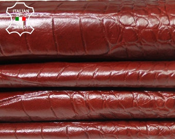 REDDISH BROWN CROCODILE 3D embossed textured texture on Italian Goatskin leather skins hides 3 skins total 20sqf 0.6mm