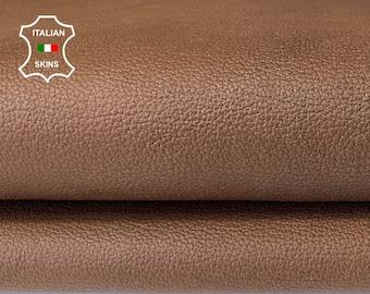 NATURAL BROWN ANTIQUED thick Pebble grain vintage look vegetable tan Italian Calfskin Calf leather skin hide skins hides 7sqf 1.5mm #A7858