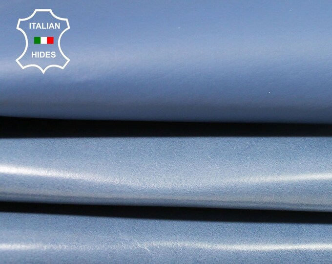 BLUE DOUBLE FACE double sided Italian Calfskin Calf cow leather material for sewing hide skin hides skins 6+sqf 0.5mm #A4706