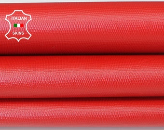 RED REPTILE TEXTURE lizard textured embossed strong Italian Goatskin Goat leather 2 skins total 7sqf 0.8mm #A6636