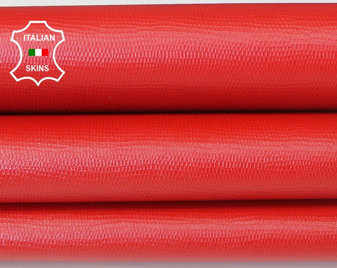 RED REPTILE TEXTURE textured embossed strong Italian Goatskin Goat leather 4 skins total 16sqf 0.8mm #A6636