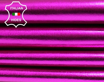 METALLIC HOT PINK  Italian lambskin Lamb Sheep leather skin skins hide hides Fuschia Fuchsia 0.7mm 5-8sqf