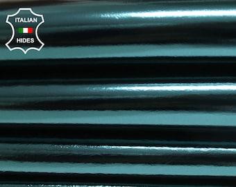 METALLIC TEAL petrol blue crinkle Italian genuine lambskin Lamb Sheep leather skin skins hide hides 0.7mm 5-8sqf